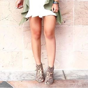 Tan Chunky Heel Lace Up Gillie Sandals